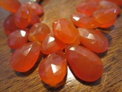 Faceted Carnelian Teardrops